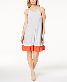 DKNY Sleeveless Contrast-Trim Nightgown