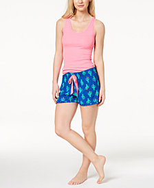 Jenni by Jennifer Moore Solid Tank Top & Printed Boxer Shorts Sleep Separates, Created for Macy's