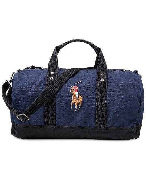 38dbb072f96 Polo Ralph Lauren Men's Canvas Big Pony Duffel Bag & Reviews - All ...