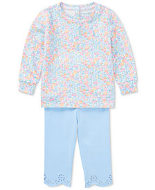 Ralph Lauren Floral-Print Shirt & Leggings Set, Baby Girls