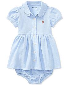 Ralph Lauren Knit Oxford Cotton Shirtdress, Baby Girls
