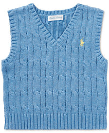 Ralph Lauren Cable-Knit Cotton Sweater Vest, Baby Boys