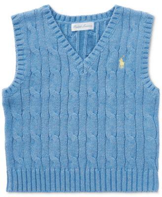 Ralph Lauren Cable-Knit Cotton Sweater Vest, Baby Boys