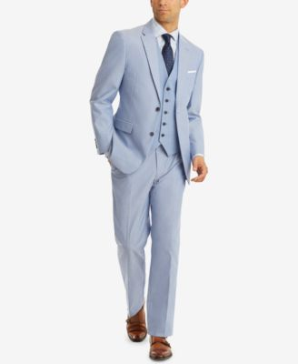 Men's Modern-Fit TH Flex Stretch Blue Chambray Suit Jacket
