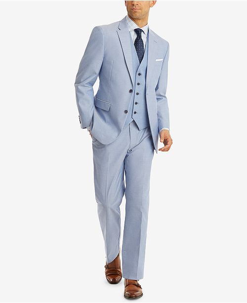 79778422c0 ... Tommy Hilfiger Men's Modern-Fit TH Flex Stretch Blue Chambray Suit  Separates ...