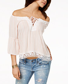 Crave Fame Juniors' Crochet Off-The-Shoulder Top