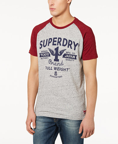 Superdry Men's Full Weight Logo-Print Raglan-Sleeve T-Shirt