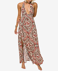 O'Neill Juniors' Dolley Printed Halter Maxi Dress