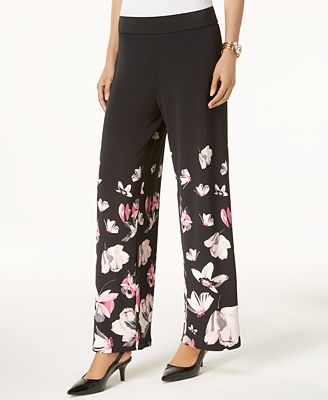 Alfani Petite Floral-Print Palazzo Pants, Created for Macy's