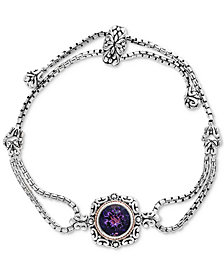 EFFY® Amethyst Filigree Double Strand Slider Bracelet (4-1/10 ct. t.w.) in Sterling Silver & 18k Gold
