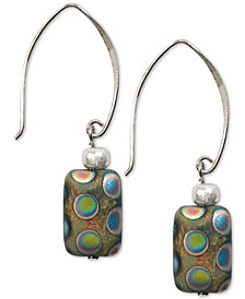 Jody Coyote Peacock Glass Bead Drop Earrings in Sterling Silver & Silver-Plate