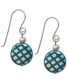 Jody Coyote Decorative Round Glass Bead Drop Earrings in Sterling Silver & Silver-Plate