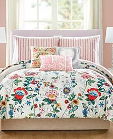 Coral Floral Comforter Sets