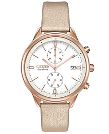 Eco-Drive Women's Chronograph Chandler Pink Vegan Leather Strap Watch 39mm