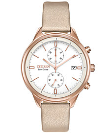 Citizen Eco-Drive Women's Chronograph Chandler Pink Vegan Leather Strap Watch 39mm