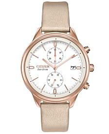 Citizen Eco-Drive Women's Chronograph Chandler Pink Vegan Leather Strap Watch 39mm
