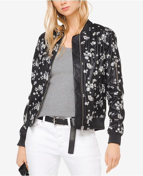 f23f8e5610 Michael Kors Embroidered Faux-Leather Bomber Jacket & Reviews ...
