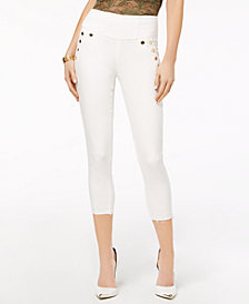 GUESS High-Waist Button-Detail Capri Jeans