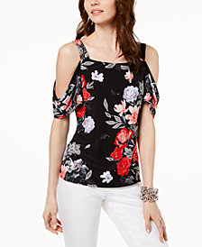 I.N.C. Petite Printed Cold-Shoulder Top, Created for Macy's