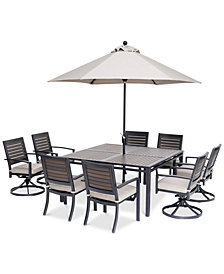 "Marlough II Outdoor Aluminum 9-Pc. Dining Set (62"" Square Table, 4 Dining Chairs and 4 Swivel Rockers) with Sunbrella® Cushions, Created for Macy's"