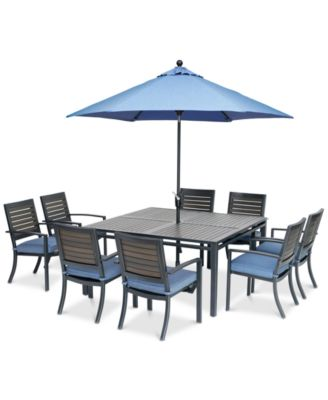"""Harlough II 9-Pc. Outdoor Dining Set (62"""" Square Dining Table and 8 Dining Chairs) with Sunbrella® Cushions, Created for Macy's"""