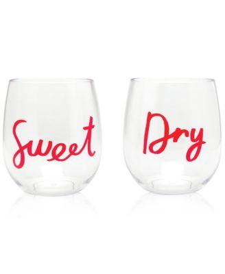 Acrylic Stemless 2-Pc. Wine Glass Set, Sweet & Dry