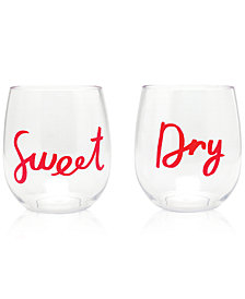 kate spade new york Acrylic Stemless 2-Pc. Wine Glass Set, Sweet & Dry