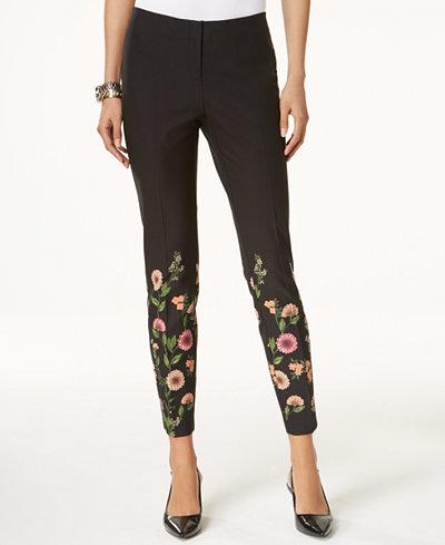 Alfani Floral-Print Skinny Pants, Created for Macy's