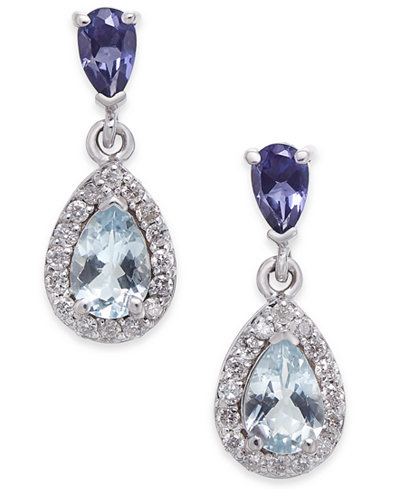 Aquamarine, Iolite and Diamond (1-1/10 ct. t.w.) Drop Earrings in 14k White Gold