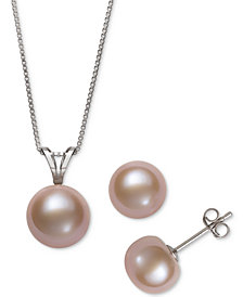 2 Pc Set White Cultured Freshwater Pearl Pendant Necklace 9mm Stud