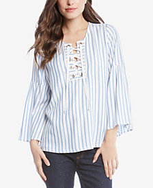 Karen Kane Striped Laced-Grommet Peasant Top