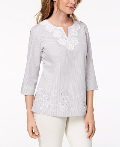 Alfred Dunner Petite Charleston Pinstriped Embroidered Top