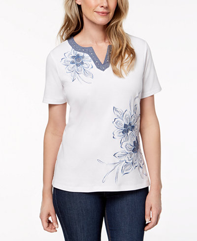 Alfred Dunner Petite Blues Traveler Embroidered Top