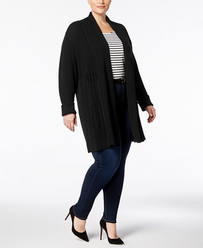 Charter Club Plus Size Ribbed-Knit Duster Cardigan, Created for Macy's
