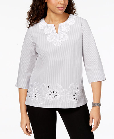 Alfred Dunner Charleston Crochet-Trim Striped Top