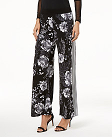 I.N.C. Petite Floral-Print & Striped Wide-Leg Pants, Created for Macy's