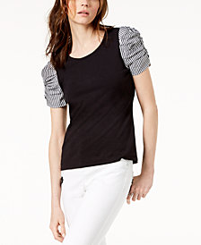 I.N.C. Ruched-Sleeve Contrast Top, Created for Macy's