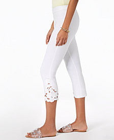 INC Cropped Lace-Contrast Capri Pants, Created for Macy's