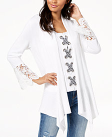 I.N.C. Petite Lace-Detail Cozy Open-Front Cardigan, Created for Macy's
