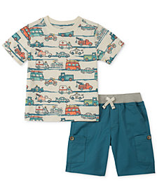 Kids Headquarters 2-Pc. Vehicle-Print T-Shirt & Cargo Shorts Set, Baby Boys