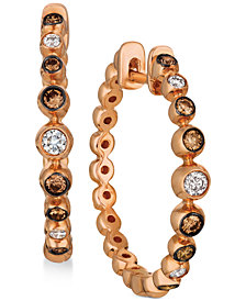 Le Vian Strawberry & Nude™ Diamond Bezel-Set Hoop Earrings (3/8 ct. t.w.) in 14k Rose Gold