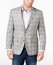 CLOSEOUT! Michael Kors Men's Classic-Fit Gray/Tan Plaid Wool Sport Coat