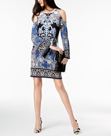 I.N.C. Printed Cold-Shoulder Sheath Dress, Created for Macy's