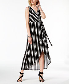 I.N.C. Striped Faux-Wrap Dress, Created for Macy's