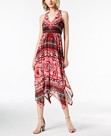 I.N.C. Printed Handkerchief-Hem Midi Dress, Created for Macy's