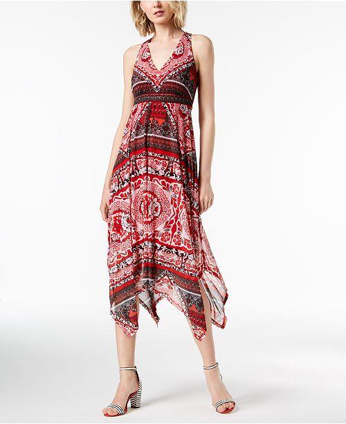 0e91f909c31 ... INC International Concepts I.N.C. Printed Handkerchief-Hem Midi Dress