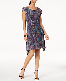 Love Scarlett Petite Printed Handkerchief-Hem Dress, Created for Macy's
