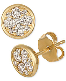 Le Vian Strawberry & Nude™ Diamond Cluster Stud Earrings (1/2 ct. t.w.) in 14k Gold