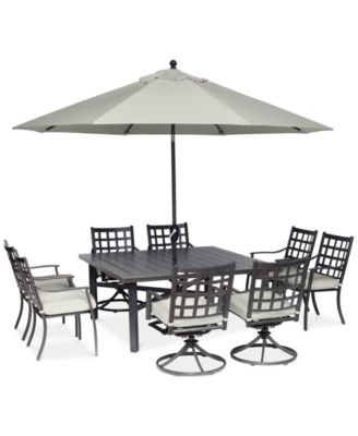 """Highland Aluminum Outdoor 9-Pc. Dining Set (64"""" Square Dining Table, 4 Dining Chairs and 4 Swivel Rockers) with Sunbrella® Cushions, Created for Macy's"""