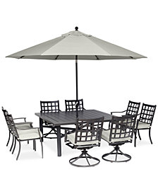 "Highland Aluminum Outdoor 9-Pc. Dining Set (64"" Square Dining Table, 4 Dining Chairs and 4 Swivel Rockers) with Sunbrella® Cushions, Created for Macy's"